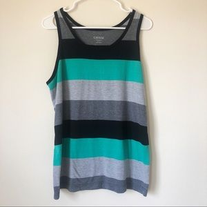 Men's Carbon Teal, Gray and Black Striped Tank Top